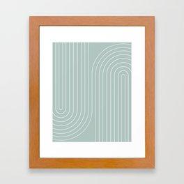 Minimal Line Curvature - Sage Framed Art Print