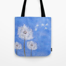 flying dandelion watercolor painting Tote Bag