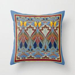 Grey-Burgundy Color & Yellow Art Nouveau Butterfly Design Throw Pillow