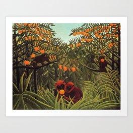 Apes in the Orange Grove by Henri Rousseau 1910 // Colorful Jungle Animal Landscape Scene Art Print