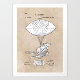 patent art Spalding Flying Machine 1889 Art Print
