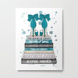 Books, Teal, Shoes, Fashion books, Fashion illustration, Fashion, Amanda Greenwood, watercolor, wall Metal Print