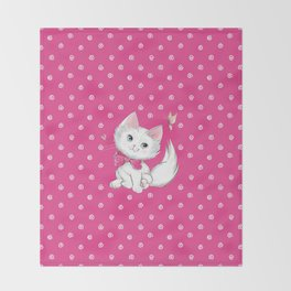Cute White Kitten with Butterfly on Pink Background Throw Blanket