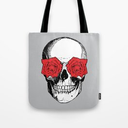 Skull and Roses | Grey and Red Tote Bag