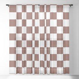 Checkered (Brown & White Pattern) Sheer Curtain