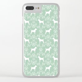 Jack Russell Terrier floral silhouette dog breed pet pattern silhouettes dog gifts mint Clear iPhone Case
