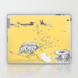 Two Tailed Duck and Jellyfish Pale Yellow Mellow Laptop & iPad Skin