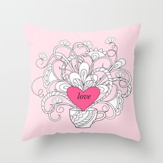 pink lovely heart and flowers Throw Pillow