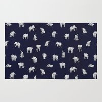 baby Area & Throw Rugs featuring Indian Baby Elephants in Navy by Estelle F