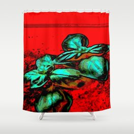 landscape red green Shower Curtain