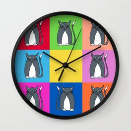Odd Kitty Out - Tabby Cat Pattern Wall Clock