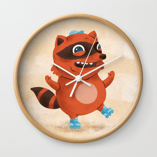 Rollerblade Raccoon Wall Clock