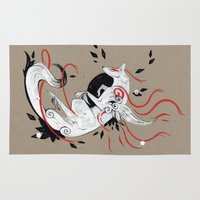 okami Area & Throw Rugs featuring OKAMI RIBBONS by Rubis Firenos