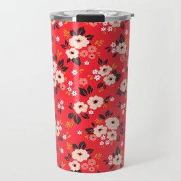 05 Ditsy floral pattern. Red background. White and pink flowers. Travel Mug