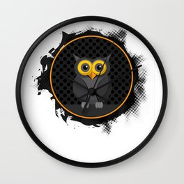 Halloween Trick or treat spooky black orange owl in a dark spooky autumn night Wall Clock