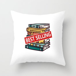 Visionary Future Best Selling Author Pile Of Books Writer Throw Pillow