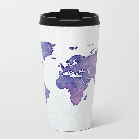 Purple World Map 02 Metal Travel Mug