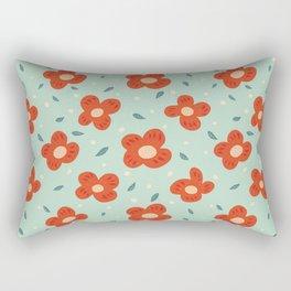 Simple Pretty Orange Flowers Pattern Rectangular Pillow