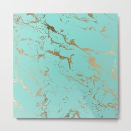 Modern teal gold marble pattern Metal Print