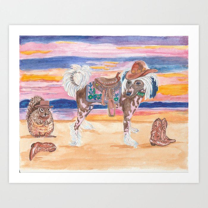 Hairless Chinese Crested pony with saddle cowboy hat boots squirrel dog art  painting watercolor west Art Print d7b0a5cc62d4
