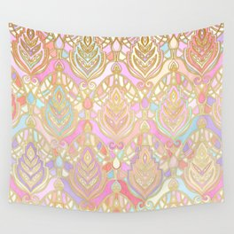 Rosy Opalescent Art Deco Pattern Wall Tapestry
