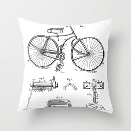 Bicycle Patent - Cyclling Art - Black And White Throw Pillow