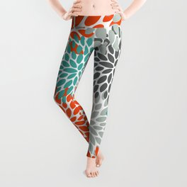 Floral Pattern, Abstract, Orange, Teal and Gray Leggings