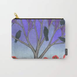crows in the stained glass tree with poppies Carry-All Pouch