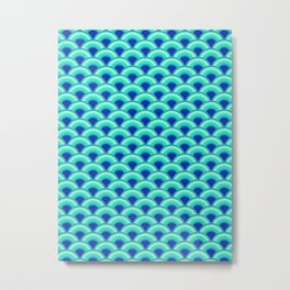 Art Deco Wave Pattern, Turquoise and Cobalt Blue Metal Print