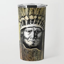 Warm Color Portrait of Geronimo in Headdress Travel Mug