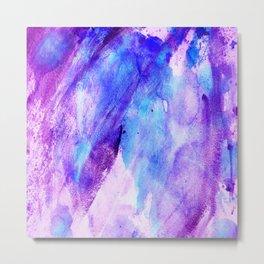 Watercolor hand painted pink teal lavender brushstrokes Metal Print
