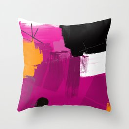 Purple abstract painting F06 pink black orange Digital painting Throw Pillow