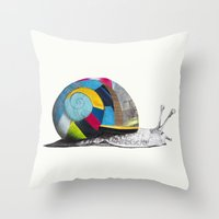 snail Throw Pillows featuring Snail by Sary and Saff