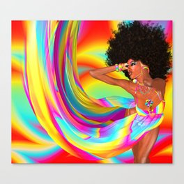 Sexy woman with afro haircut is dancing disco. Canvas Print