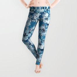 DANK DUDETTE Indigo Hibiscus Watercolor Leggings