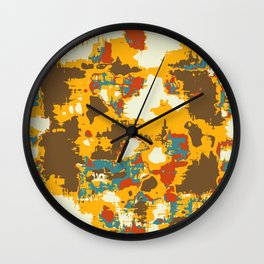 psychedelic geometric painting texture abstract in yellow brown red blue Wall Clock