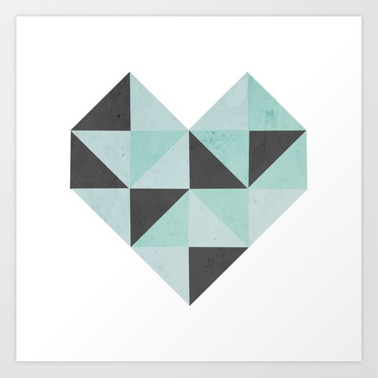 Geometric Heart (Blue) Art Print