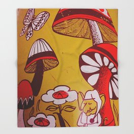 mushrooms and flowers Throw Blanket