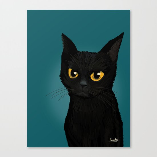 Cat in the blue Canvas Print