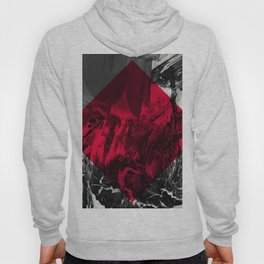 Waves // black and white abstract painting w/ red diamond Hoody