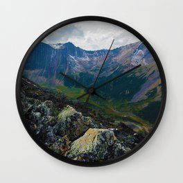 Down in the Valley, Pyramid Mt in Jasper National Park, Canada Wall Clock