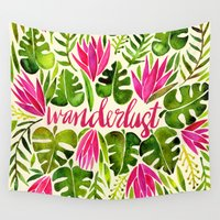 lime Wall Tapestries featuring Tropical Wanderlust – Pink & Lime by Cat Coquillette