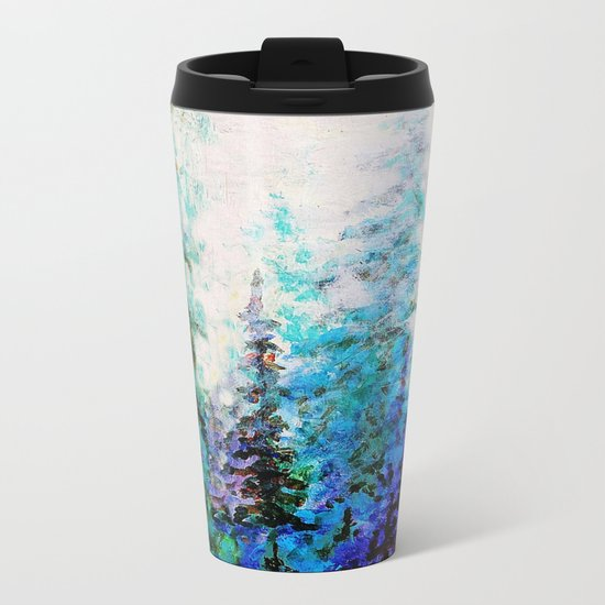 Mountain Landscape Pines In Blue-Greens-Purple Metal Travel Mug