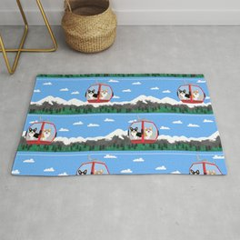 Gondola corgis telluride ski slopes custom dog Rug