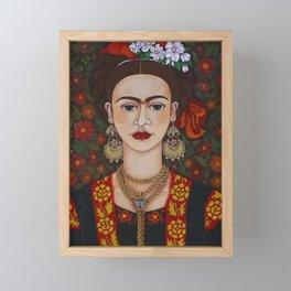 Frida with butterflies Framed Mini Art Print