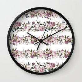 Girly pink lilac teal watercolor floral stripes pattern Wall Clock
