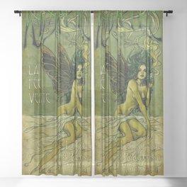 Vintage Parisian Green Fairy Absinthe Alcoholic Aperitif Advertisement Poster Sheer Curtain