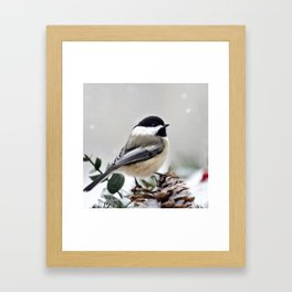 Winter Chickadee Framed Art Print
