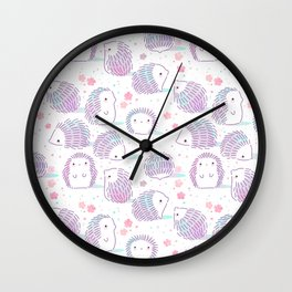 Spring Hedgehog Pattern Wall Clock