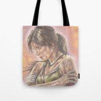 lara croft Tote Bags featuring Miss Croft by JadeJonesArt